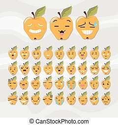 Set of cute fruit smiley. Apple emoticons.