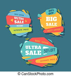 Sale badges and special offer tags. creative banners for web and print.