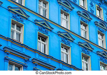 blue building facade , restored facade in Berlin - blue...
