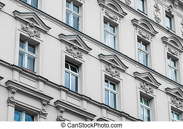 old residential building facade - restored facade in  Berlin
