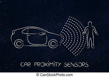 vehicle with sensors detecting proximity with a pedestrian
