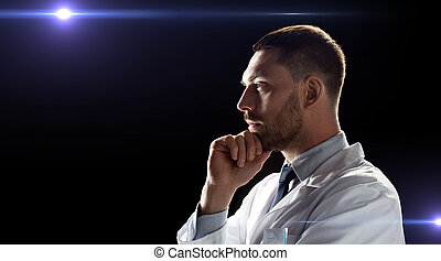 doctor or scientist in white coat - future technology,...