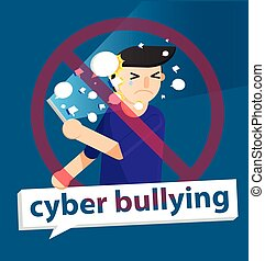 cyber bullying boy background graphic vector illustrations -...