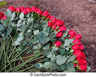 Bunch of red roses lies on ground