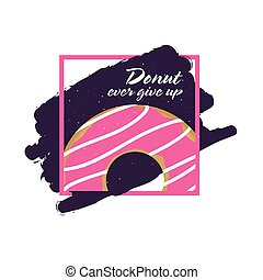 donuts ever give up icon illustration in colorful