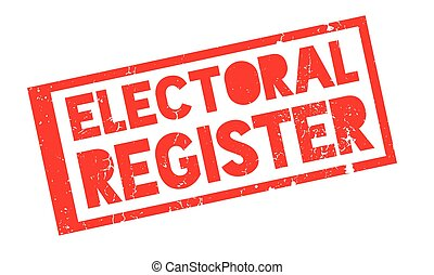 Electoral Register rubber stamp. Grunge design with dust...