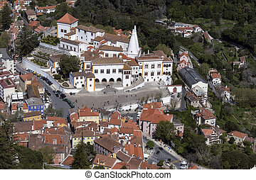 Aerial view of Sintra - Lisbon - Portugal - Aerial view of...