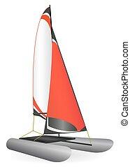 Red inflatable sailing catamaran.