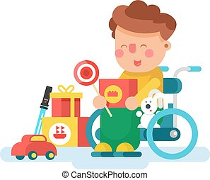 Boy in a wheel chair with toys. Child boy happy, childhood,...