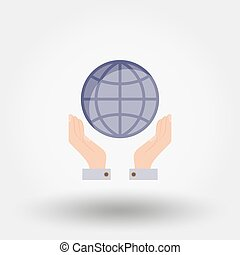 Globe in the hands.