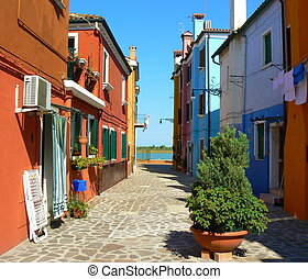 Burano - Colorful houses in Burano island, Italy