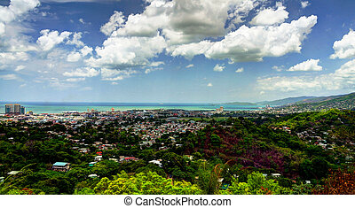 Panorama aerial view to Port of Spain, Trinidad and Tobago -...