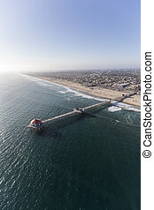 Aerial of huntington Beach Pier in Southers California -...