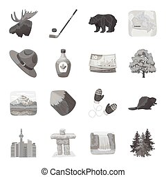 Wild animal, deer, horns and other Canada elements. Canada set collection icons in monochrome style vector symbol stock illustration web.