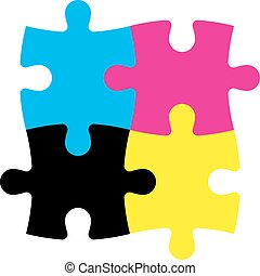Four jigsaw puzzle pieces in CMYK colors. Printer theme....