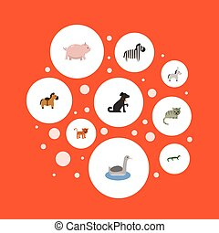 Flat Icons Hound, Jackass, Swine And Other Vector Elements....