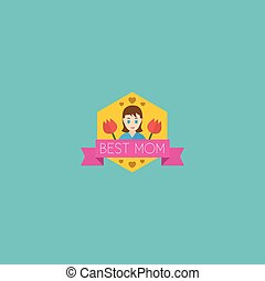 Flat Icon Badge Element. Vector Illustration Of Flat Icon Best Mother Ever Isolated On Clean Background. Can Be Used As Best, Mom And Badge Symbols.