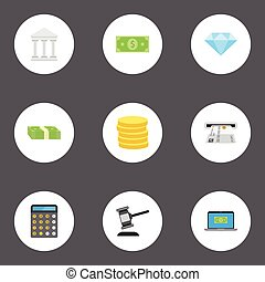 Flat Icons Computer, Accounting, Cash Stack And Other Vector Elements. Set Of Finance Flat Icons Symbols Also Includes Money, Machine, Currency Objects.