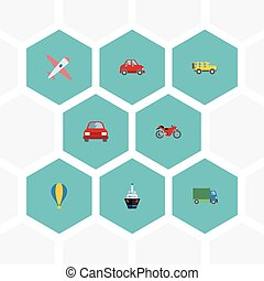 Flat Icons Jeep, Lorry, Aircraft And Other Vector Elements. Set Of Vehicle Flat Icons Symbols Also Includes Aircraft, Plane, Car Objects.