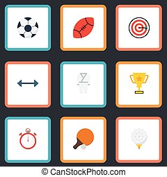 Flat Icons Uniform, Ball, Second Meter And Other Vector Elements. Set Of Activity Flat Icons Symbols Also Includes Karate, Arrow, Game Objects.