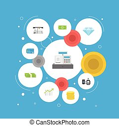 Flat Icons Remote Paying, Payment, Jewel Gem And Other Vector Elements. Set Of Finance Flat Icons Symbols Also Includes Online, Money, Salary Objects.