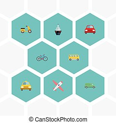 Flat Icons Automobile, Omnibus, Bicycle And Other Vector...