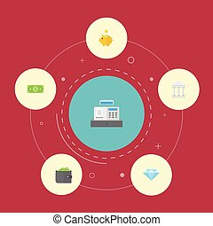 Flat Icons Bank, Money Box, Billfold And Other Vector Elements. Set Of Banking Flat Icons Symbols Also Includes Jewel, Diamond, Wallet Objects.