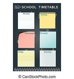 school timetable black pencil - Black template of school...
