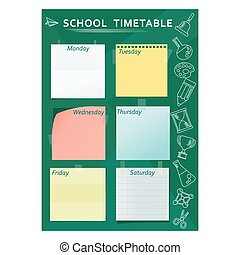 school timetable green - Green template of school week...