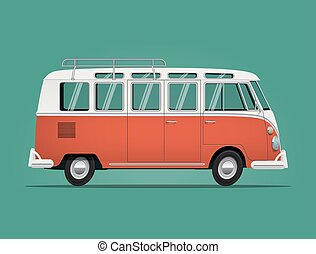 Vintage classic bus. Cartoon styled illustration. - Vintage...