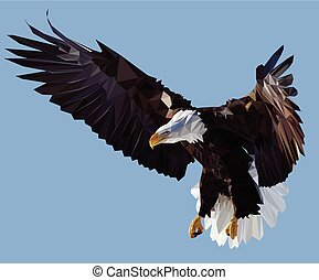 Condor - Vector Low Poly Styled Illustration of the American...