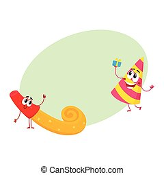 Smiling birthday party characters - spriped hat and horn,...