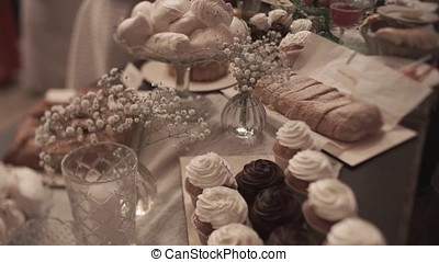 Table setting,restaurant serving,restaurant interior,empty glasses on the white table, A row of empty champagne glasses. Furshet, catering