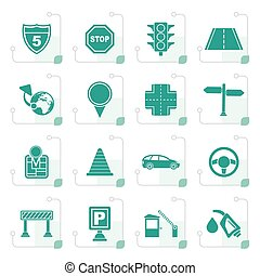 Stylized Traffic, road and travel icons