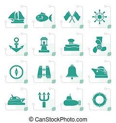 Stylized Marine, sea and nautical icons