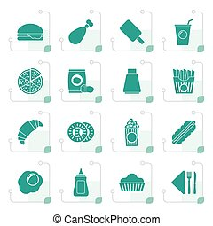 Stylized fast food and drink icons
