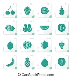 Stylized Different kind of fruit and icons - vector icon set...