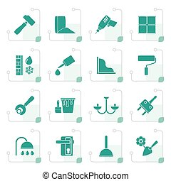 Stylized Construction and building equipment Icons - vector...
