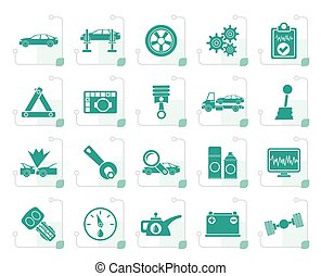 Stylized car services and transportation icons