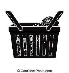 Basket with food. E-commerce single icon in black style vector symbol stock illustration web.