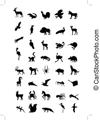 world of animal - set of silhouettes of different animals,...
