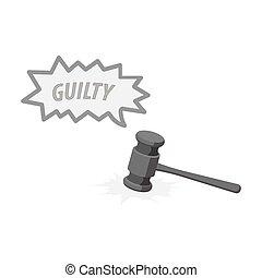 Justice and sentence. E-commerce single icon in monochrome...