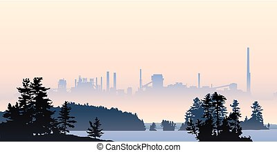 Looming Industry - Silhouette illustration of heavy industry...