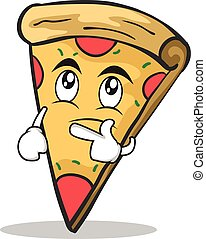 Thinking face pizza character cartoon
