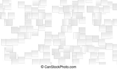 Abstract grey animated squares on white background. Seamless...