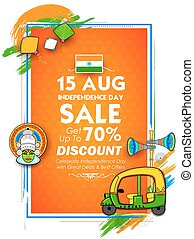 Independence Day of India sale banner with Indian flag...