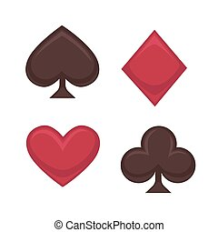 Playing card symbols collection in red and brown on white