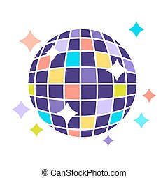 Night club disco ball with sparkling lights party vector flat icon