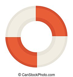 Red and white life saver - Vector illustration of red and...