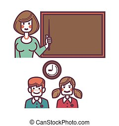 Teacher near blackboard and pupils above graphic poster